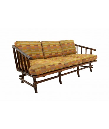 John Wisner for Ficks Reed Style Bamboo Mid Century 3-Seater Sofa