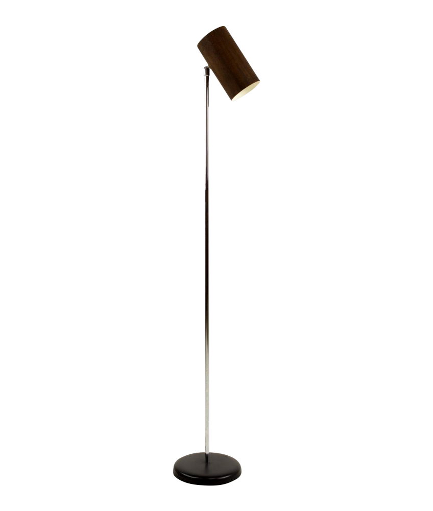 George Kovacs Mid Century Wood Can Floor Lamp