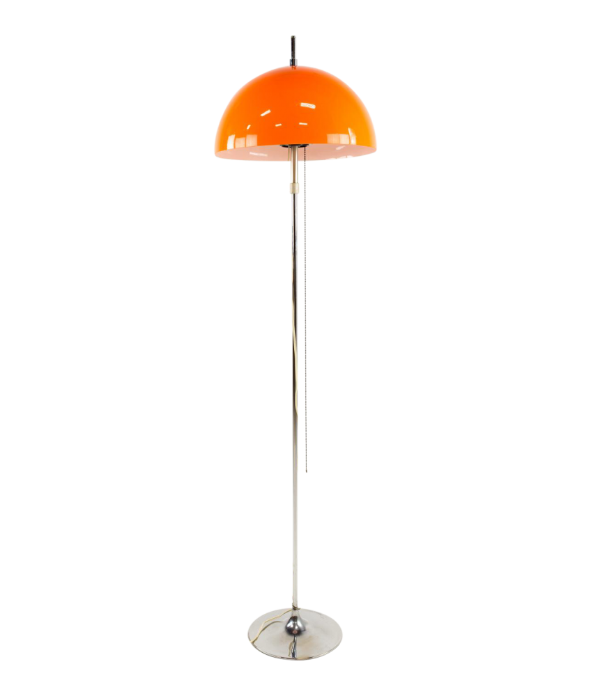 Mid-Century Italian Style Chrome and Lucite Floor Lamp