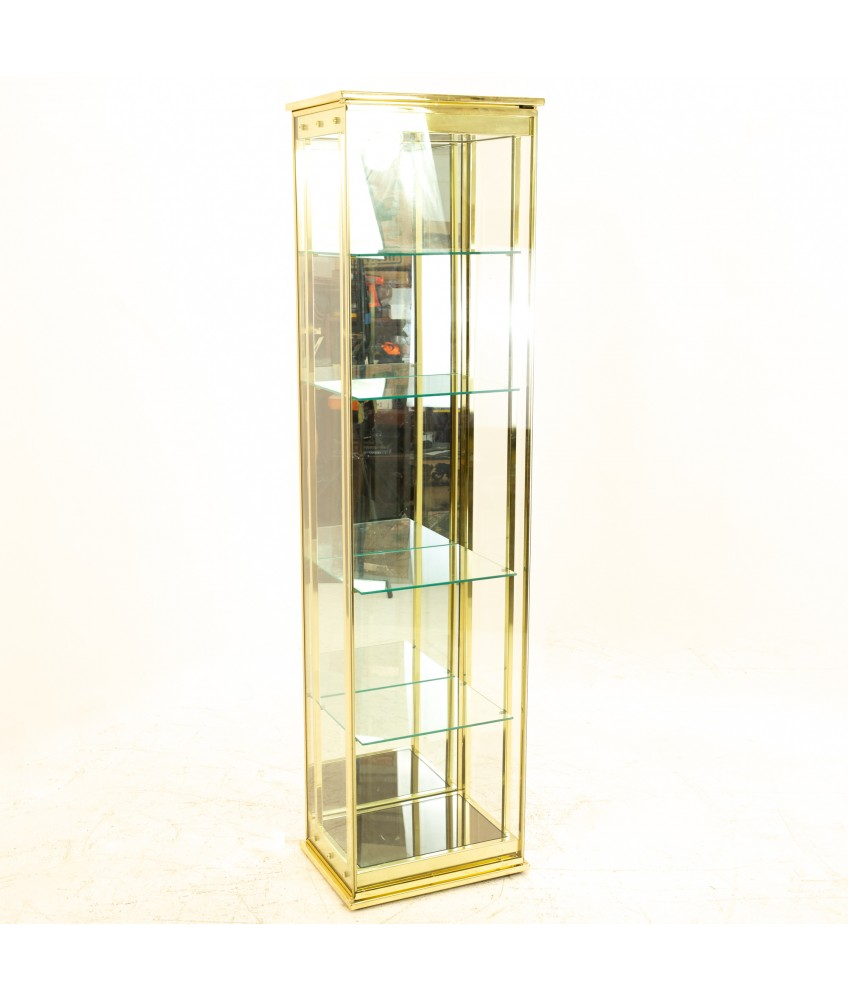 Mid Century Brass and Glass Display Cabinet