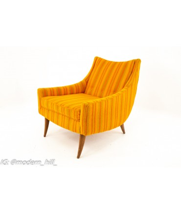 Adrian Pearsall Style Kroehler Mid Century Orange and Green Striped Lounge Chair and Ottoman