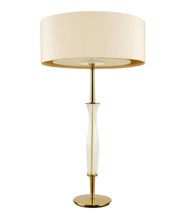 Lightolier Style Brass and Glass Table Lamp
