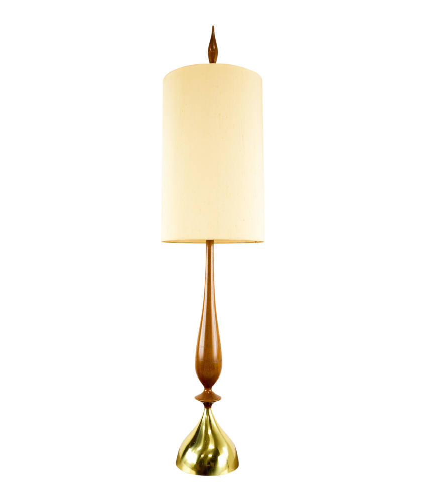 Mid-Century Wood and Brass Table Lamp