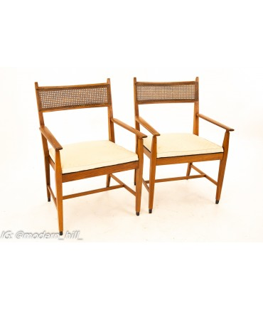 Paul McCobb For Directional Mid Century Walnut and Cane Dining Chairs - Set of 6
