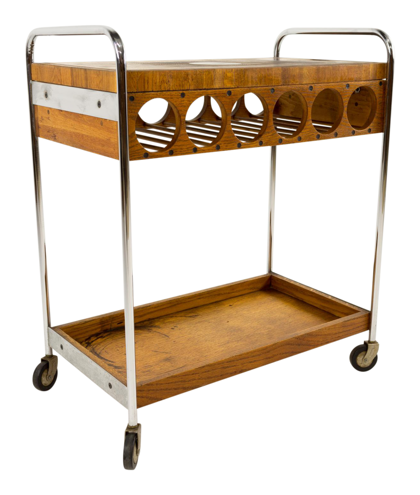 Arthur Umanoff Chrome and Butcher Block Gourmet Bar Cart with Wine Rack
