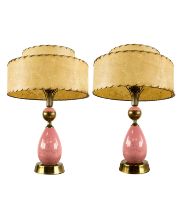 Pink Mid-Century Modern Table Lamps - Matching Pair