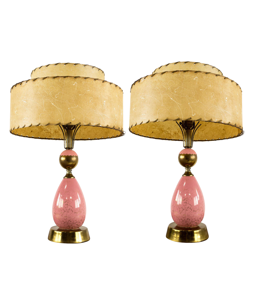 Pink Mid Century Modern Table Lamps Matching Pair