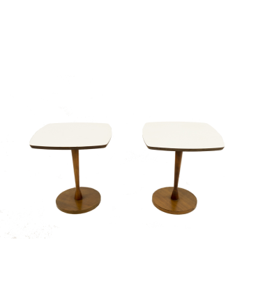 Mid-Century Modern White Top Side Tables