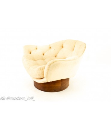 Adrian Pearsall Style Wieland Furniture Company Mid Century Walnut Upholstered Lounge Chair and Ottoman