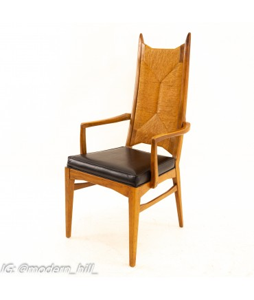 Mid Century Walnut and Rope Dining Chairs - Set of 6