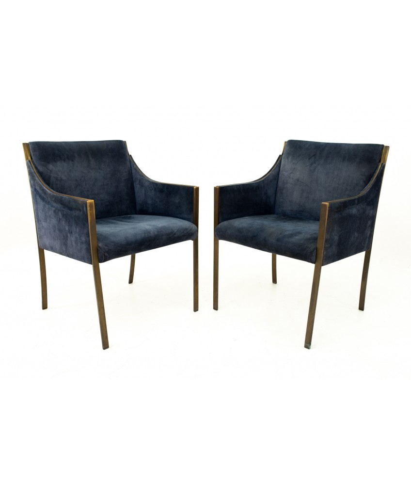 Jens Risom Mid Century Bronze Occasional Chairs - Pair