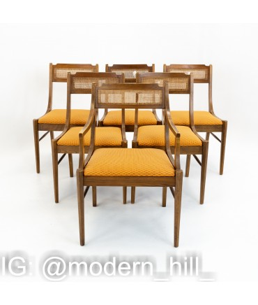 Paul McCobb Style Walnut and Cane Dining Chairs - Set of 6