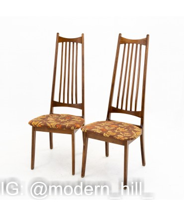 Mid Century Walnut Highback Dining Chairs - set of 4