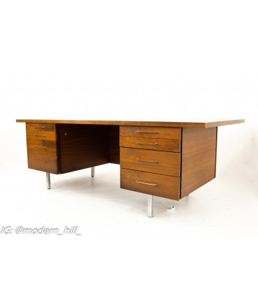 George Nelson for Herman Miller Style Mid Century Walnut and Chrome Executive Desk