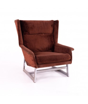 Adrian Pearsall for Comfort Designs Mid Century Wing-back Chrome Base Lounge Chair