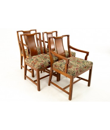 Baker Style American of Martinsville Mid Century Walnut Dining Chairs - Set of 4