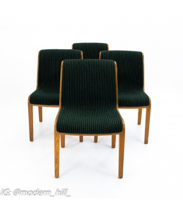 Bill Stephens for Knoll Mid Century Bent Wood Dining Chairs - Set of 4