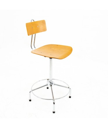 Bieffe Mid Century Italian Blonde and Chrome Drafting Bar Stool