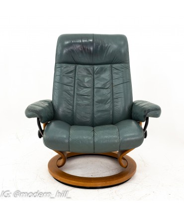 Ekornes Mid Century Gray Stressless Lounge Chair and Ottoman