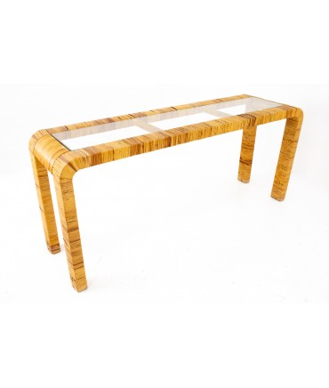 Mid Century Rattan and Glass Sofa Foyer Entry Console Table