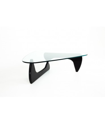 Isamu Noguchi for Knoll Mid Century Ebonized Wood and Glass Coffee Table