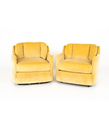 Henredon Folio 500 Mid Century Barrel Lounge Chairs - Pair