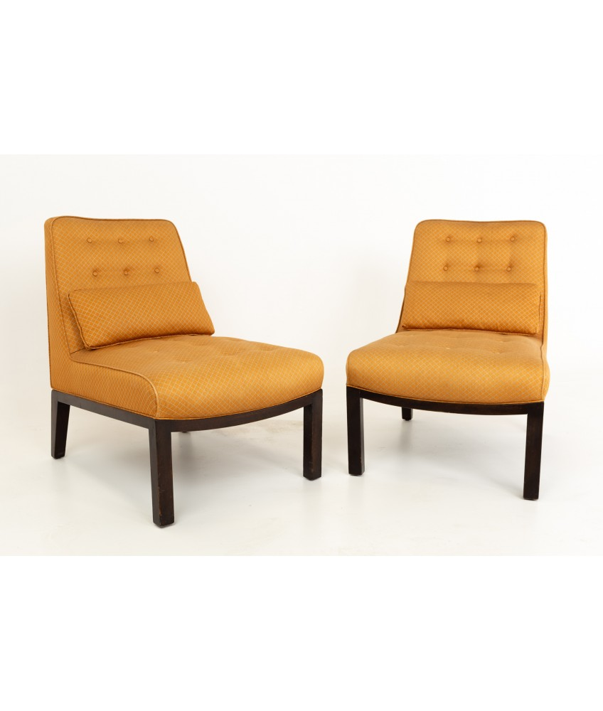 Edward Wormley for Dunbar Mid Century Slipper Lounge Chairs - Pair