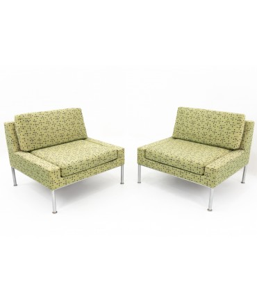 Keilhauer Mid Century Chrome Upholstered Lounge Chairs - Matching Pair