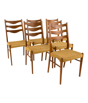 Mid-Century Danish Teak Roped Ladder Back Dining Chairs - Set of 6