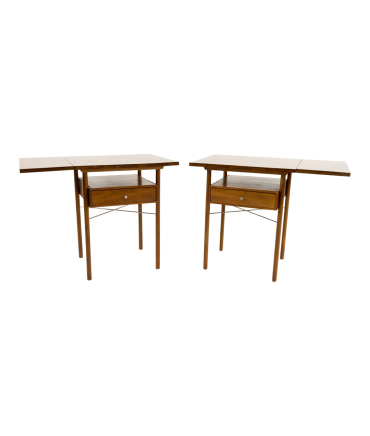 Paul McCobb Style Whitney Drop Leaf Side Tables - Pair