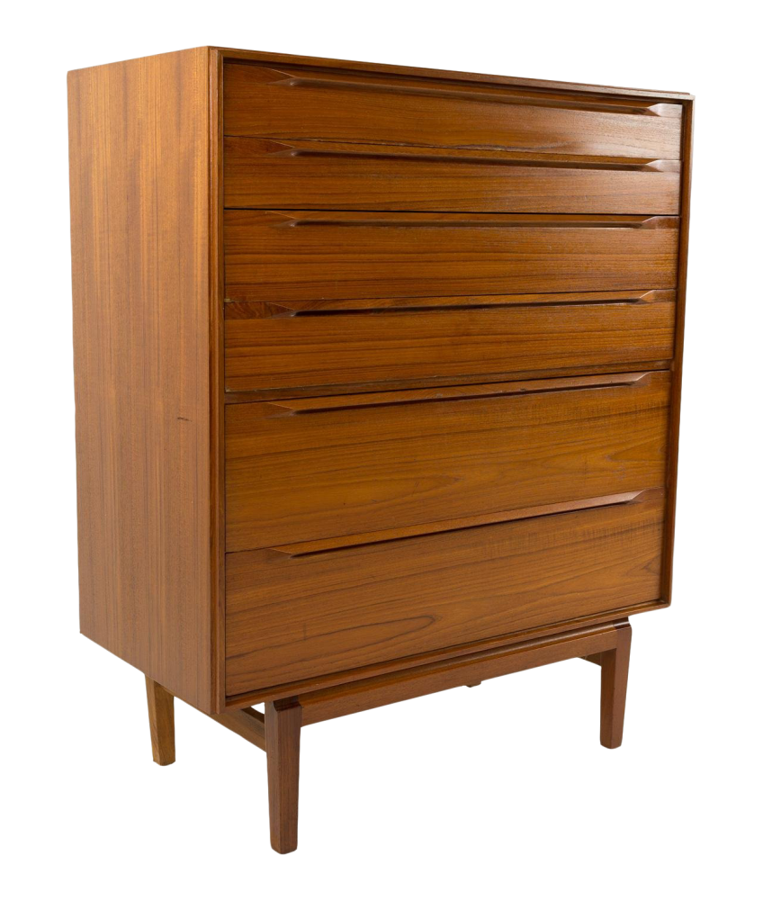 Mid-Century Modern Teak 6 Drawer Highboy Dresser