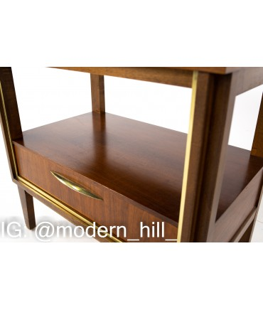 Paul McCobb Style West Michigan Furniture Company Mid Century Walnut and Brass Nightstands - Pair