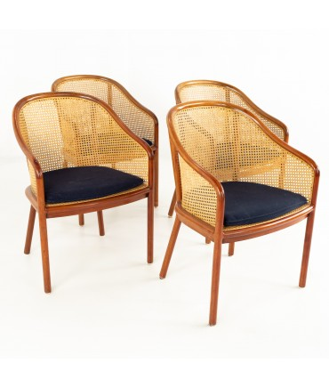 Ward Bennett for Brickel Associates Mid Century Caned Cherry Occasional Dining Chairs - Set of 4