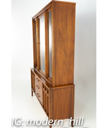 Kent Coffey Perspecta Mid Century Walnut and Rosewood Buffet and Hutch China Cabinet