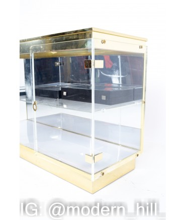 Mid Century Lucite and Brass Display Cabinet