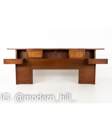 Merton Gershun for American of Martinsville Mid Century Walnut and Rattan X Inlay Queen Floating Nightstand Storage Headboard