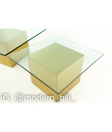 Paul Mayen Style Mid Century Brass and Glass Side End Table - Pair