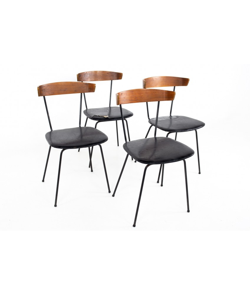 Paul McCobb Style Clifford Pascoe Mid Century Walnut and Wrought Iron Dining Chairs - Set of 4