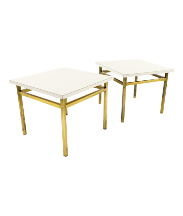 White Laminate Top Brass Small Accent Side or End Tables - Pair