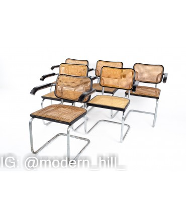 Marcel Breuer for Stendig Mid Century Ebonized and Cane Back Dining Chairs - Set of 6