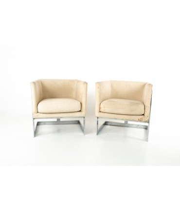 Milo Baughman For Thayer Coggin Mid Century Floating Chrome Club Lounge Chairs - Pair