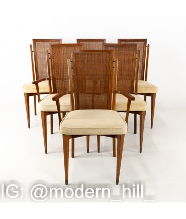American of Martinsville Mid Century Walnut and Cane High Back Dining Chairs - Set of 6
