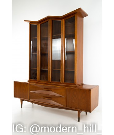 American of Martinsville Mid Century Diamond Walnut Sideboard Credenza Buffet and Hutch