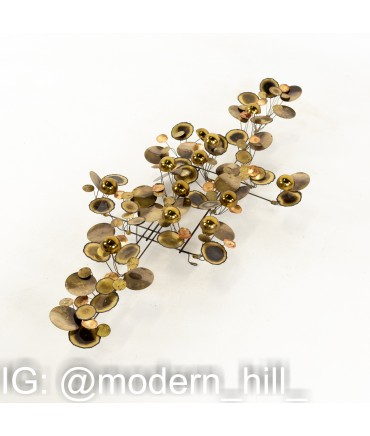 Curtis Jere Mid Century Brass and Chrome Raindrops Wall Sculpture