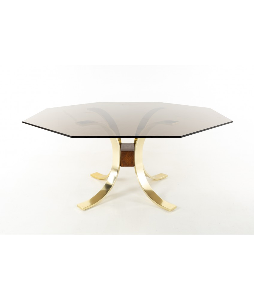 Romeo Rega Style Mid Century Brass Burlwood and Glass Dining Table