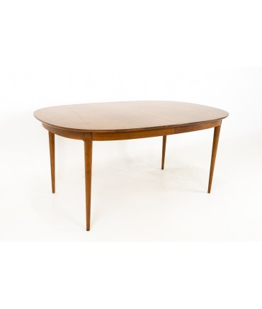 R-Way Mid Century Walnut Inlaid Rounded Oval 10 Person Dining Table