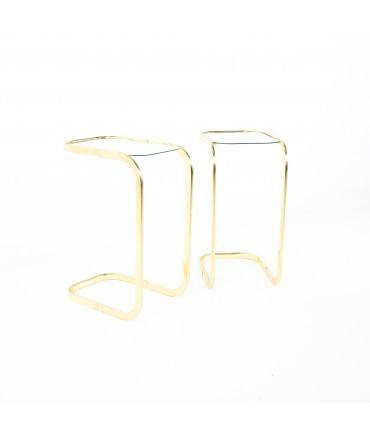 Milo Baughman Style Brass and Glass Cantilever Side End Tables - A Pair