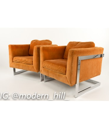 Milo Baughman Style Mid-Century Cube Chairs with Chrome Frame - Matching Pair