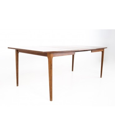 Brasilia Style Mid Century Walnut Surfboard Dining Table with 2 Leaves