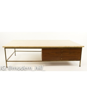 Paul McCobb for Calvin Travertine and Brass Coffee Table